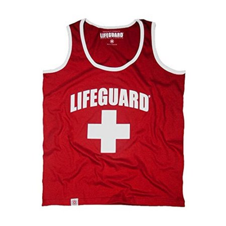Officially Licensed Guys LIFEGUARD Muscle Tank with Contrast Piping Edge 100% cotton for