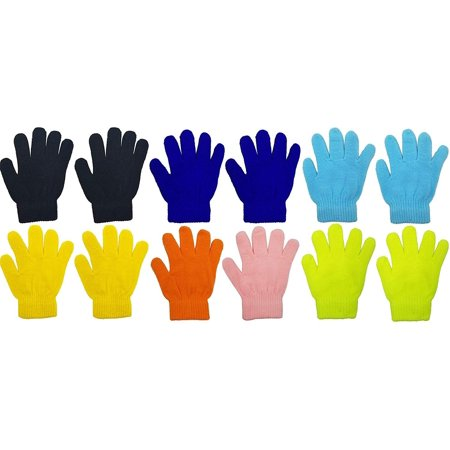 - 12 Pairs Winter Magic Gloves for Kids, Stretchy Warm Bulk Pack Boys Girls Children (12 Pairs Assorted Solids D)