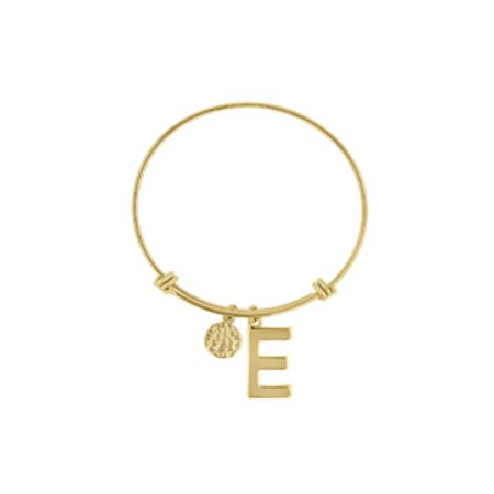"""E"" Initial Expandable Wire Bangle Bracelet In Yellow Gold"