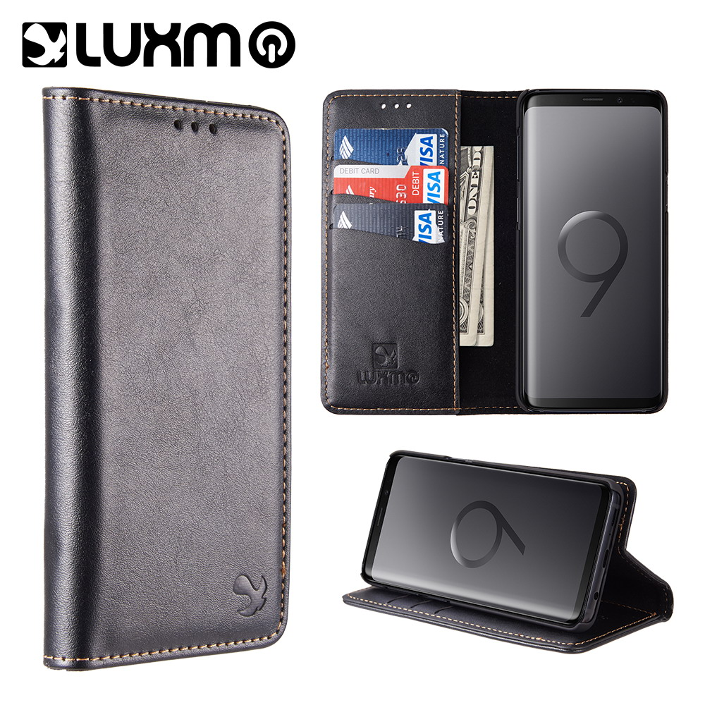 Galaxy S9 Wallet Case Leather -Luxmo Flip Case for Samsung Galaxy S9 with Magnetic Closure Card Slot Kickstand- Black