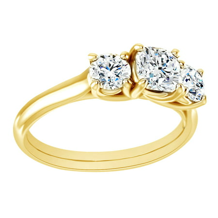 Round Cut Simulated White Moissanite Three Engagement Ring In 14K Solid Yellow Gold, Size-7.5