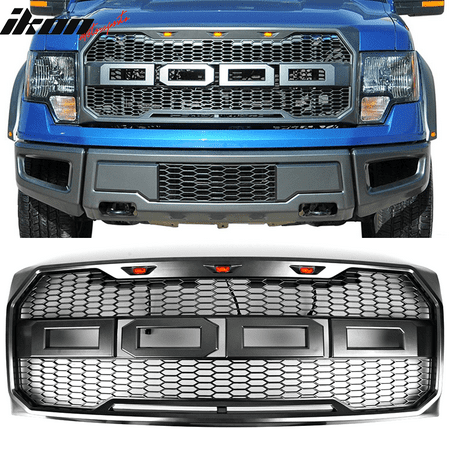 Ikon Motorsports Grille - Fits 09-14 Ford F150 New Raptor Style Front Bumper Grille Hood Mesh Package ABS
