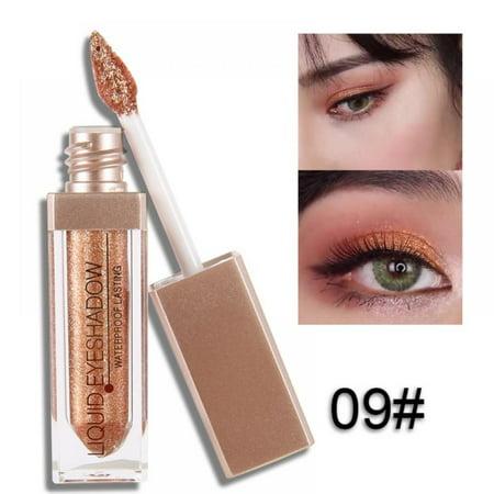 Acenx Liquid Eye Shadow, Shimmer Glitter Nude Metals Glow Eyeshadow Palette Waterproof Lasting Highlighter Beauty Makeup #9