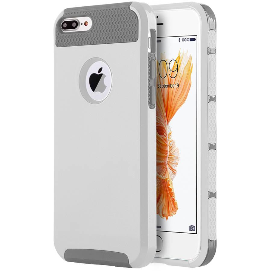 Apple iPhone 7 Plus Glossy UV Coating Hybrid Case, White/Grey