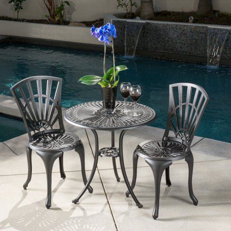 Best Selling Home Decor Andorra Cast Aluminum 3 Piece Patio Bistro Set