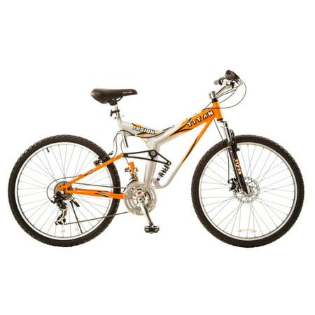 Titan Fusion-Pro Men's Dual Suspension Alloy Mountain Bike, Orange/Silver