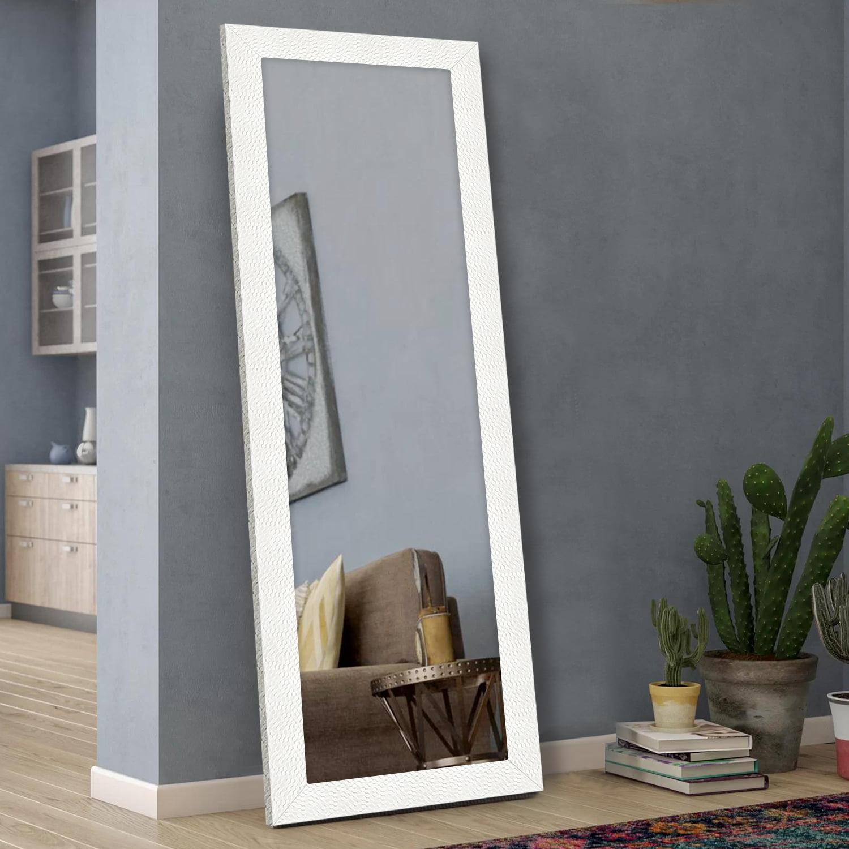 Neutype Full Length Mirror Decor Wall Mounted Mirror Floor Mirror With Standing Holder Mosaic Frame For Bathroom Bedroom Living Room Dining Room Entry White 65 X22 Walmart Com Walmart Com