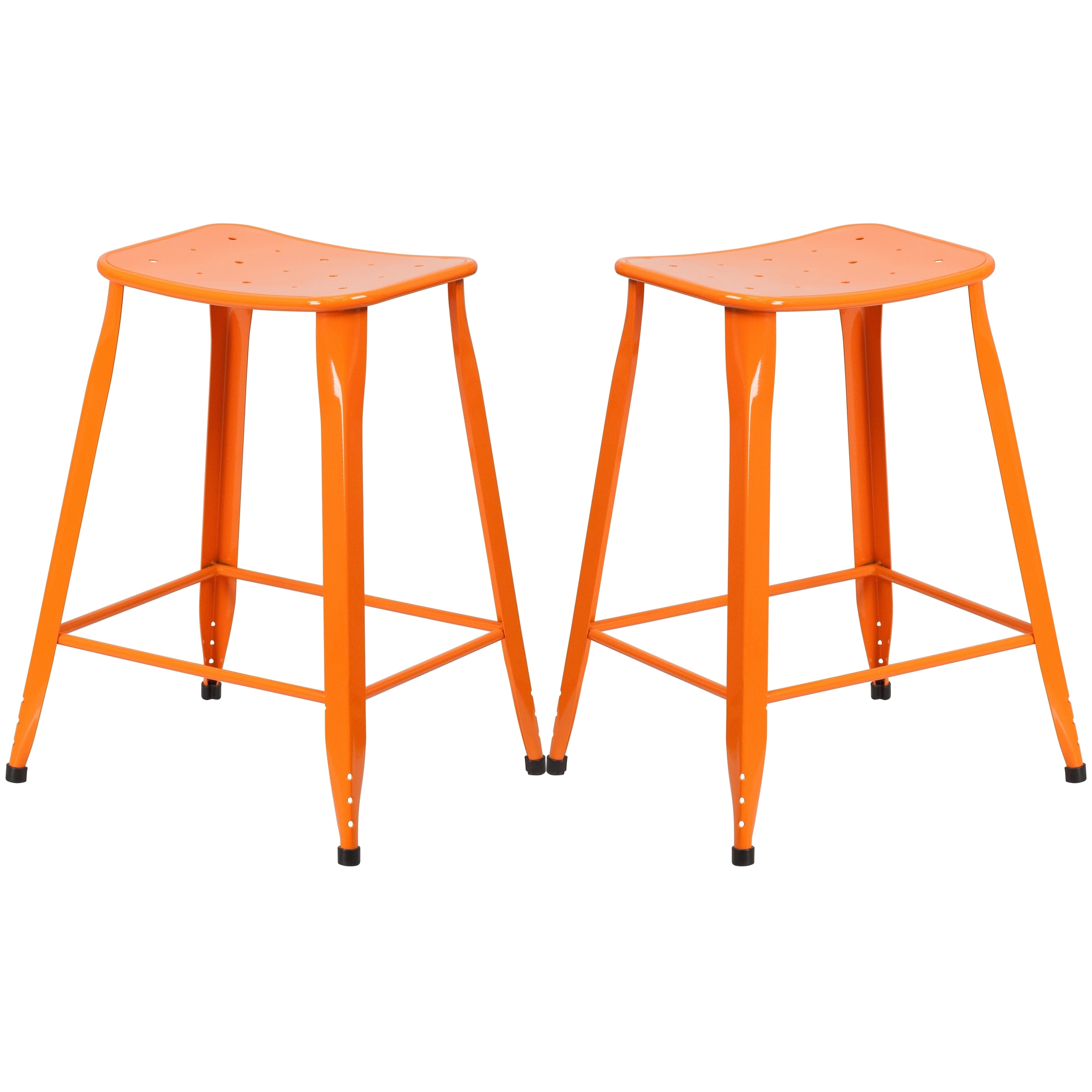 A Line Furniture Orange Galvanized Metal 24 Inch Stool Walmartcom