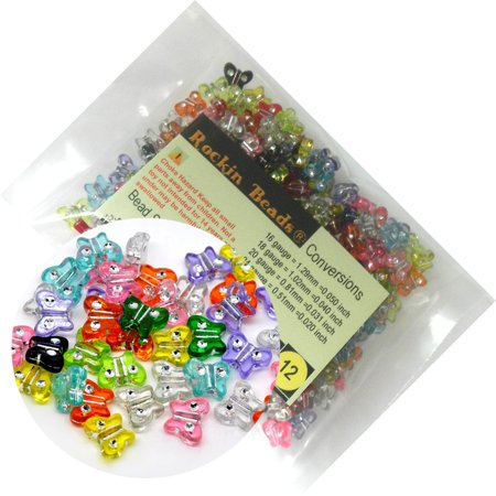 280 Mixed Acrylic Butterfly with Rhinestone Spacer, Loose Beads, 11x9mm  (1mm Hole)