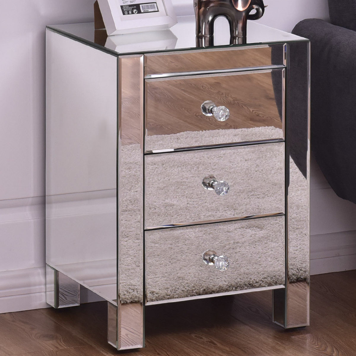 Costway Mirrored Nightstand 3 Drawer Modern Mirror End Table Storage Accent Cabinet by Costway