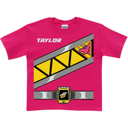 Personalized Power Rangers Dino Charge Girls' Pink Ranger T-Shirt (Girls Power Ranger)