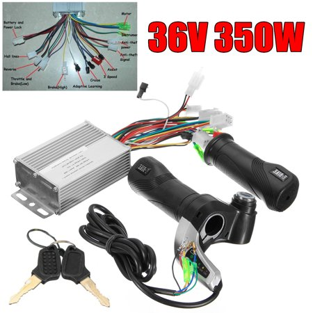 36V 350W Motor Brushless Controller 3 Phase Line +Throttle Twist Grip With Keys For Electric Car