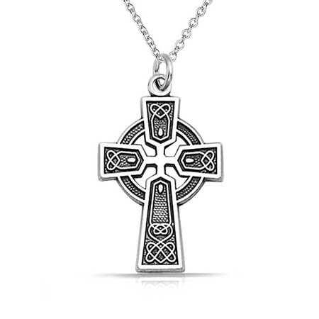 Celtic Irish Viking Love Knot Work Trinity Cross Pendant Necklace For Women Oxidized 925 Sterling Silver Chic Sterling Silver Love Knot