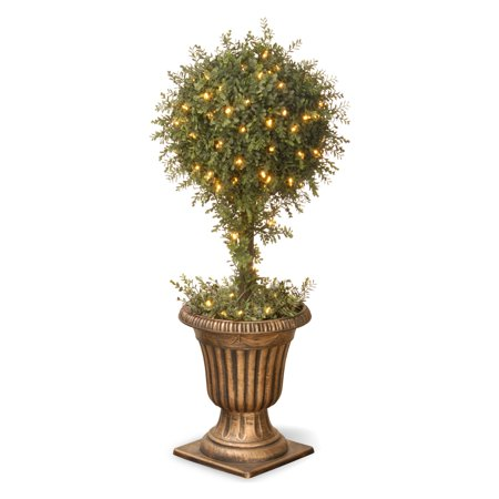 National Tree Mini Tea Leaf 1-Ball Topiary with Gold Urn and 100 Clear Lights, 36