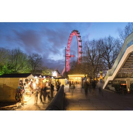 Christmas Market in Jubilee Gardens, with the London Eye at Night, South Bank, London, England Print Wall Art By Matthew Williams-Ellis ()