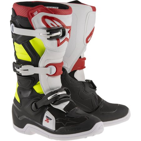 Alpinestars Tech 7S Youth Boots Black/Red/Yellow (Black, 4) Alpinestars Tech 6s Youth Boots