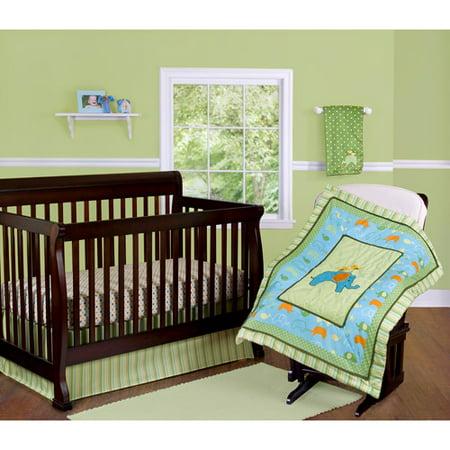 Step By Step Elephant Crib Bedding 3 Piece Set Green