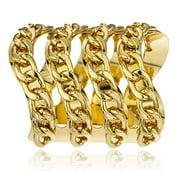 Goldtone Cuban Chain Adjustable Bangle Cuff Bracelet