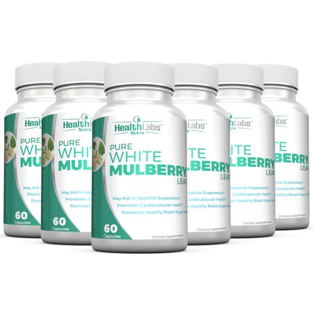 Pure White Mulberry Leaf Extract 1000mg, Promotes Healthy Weight Management, Healthy Blood Sugar Levels and Supports a Healthy Immune System - Pack of 6