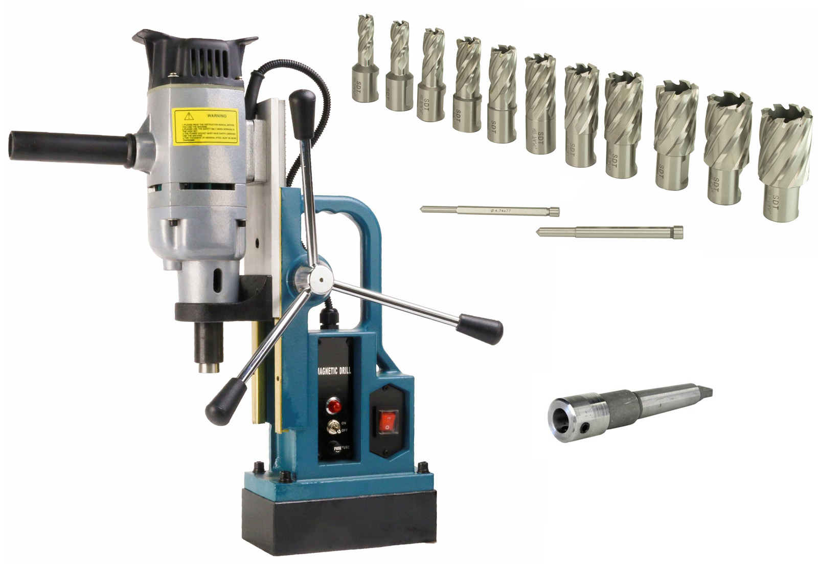 """Steel Dragon Tools MD25 Magnetic Drill Press with 13pc 1"""" HSS Cutter Kit by Steel Dragon Tools"""