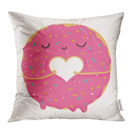 ARHOME Cute Pink Cartoon Donut with Heart and Face Valentine's Day Party Prints Pillowcase Cushion Cover 18x18 inch