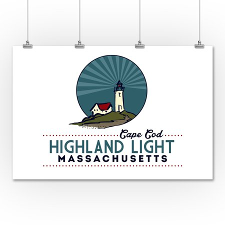 Cape Cod - Highland Lighthouse - Lantern Press Artwork (36x54 Giclee Gallery Print, Wall Decor ...