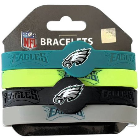 Nfl Philadelphia Eagles Silicone Rubber Bracelet Set