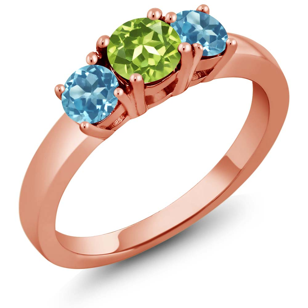 1.26 Ct Round Green Peridot Swiss Blue Topaz 925 Rose Gold Plated Silver Ring