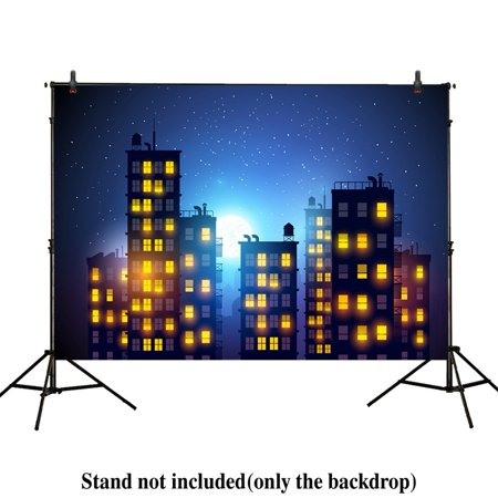 HelloDecor Polyster 7x5ft photography backdrops superhero super city night buildings child birthday party event banner photo studio booth background baby shower - Cool Superhero Backgrounds