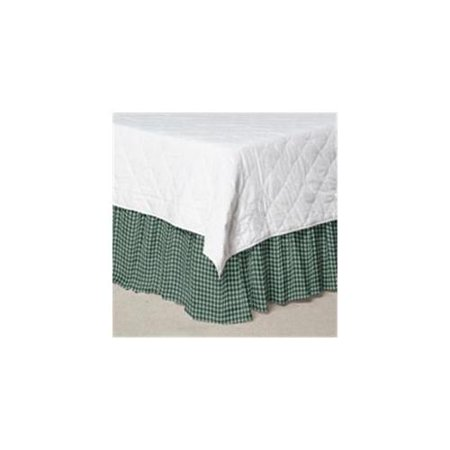 Patch Magic DRKW190A Green and White Gingham Checks, Fabric Dust Ruffle King 78 x 80 inch