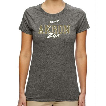J2 Sport Akron Zips NCAA Campus Script Women's T-shirt Akron Zips Ncaa Baseball
