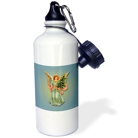 3dRose Christmas Angel in Blue Holding a Christmas Tree and a Lit Candle, Sports Water Bottle, 21oz