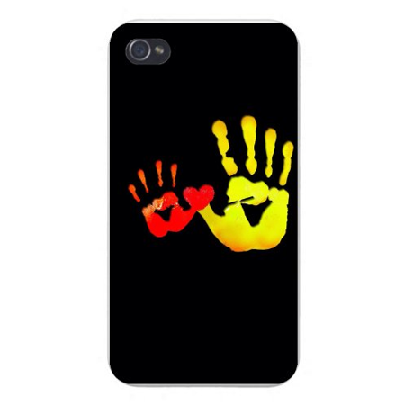 Apple Iphone Custom Case 4 4s Snap on - Artistic Colorful Hand Prints w/ Heart on - Heart Handprint