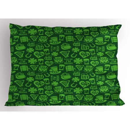 Irish Pillow Sham Kiss Me I'm Irish Humorous Phrase with Ale Shamrocks Hats Traditional Symbols, Decorative Standard Size Printed Pillowcase, 26 X 20 Inches, Green Lime Green, by Ambesonne](Phrase Humour Halloween)
