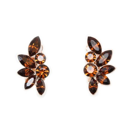 Faship Chocolate Brown Rhinestone Crystal Floral Clip Ons Earrings - Chocolate Brown