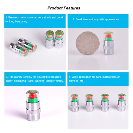 4Pcs/Set High Precision Automobile Car Tire Pressure Monitor Tire Valve Stem Caps Sensor Indicator Tire Pressure Alert Warning Cap 2.0 Bar/2.2 Bar/2.4 Bar - image 3 of 7