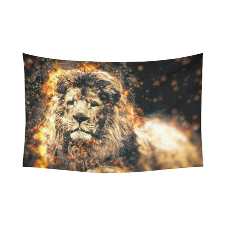 PHFZK Animal Abstract Art Wall Art Home Decor, African Fire Lion Tapestry Wall Hanging 60 X 90 Inches