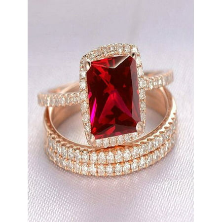 Limited Time Sale: 1.50 Carat Red Ruby (princess cut Ruby) and Diamond Engagement Bridal Trio Wedding Ring Set in 10k Rose Gold