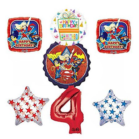 DC Super Hero Girls 4th Birthday Party Supplies and Balloon Decorations - Superhero Party Ideas