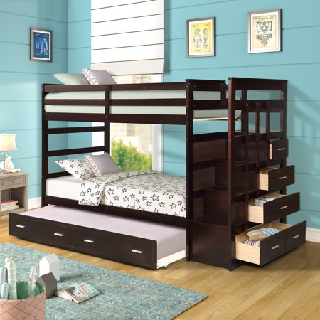 Harper&Bright Designs Twin over Twin Wood Bunk Bed with Trundle & Storage Drawers, Multiple Colors ()