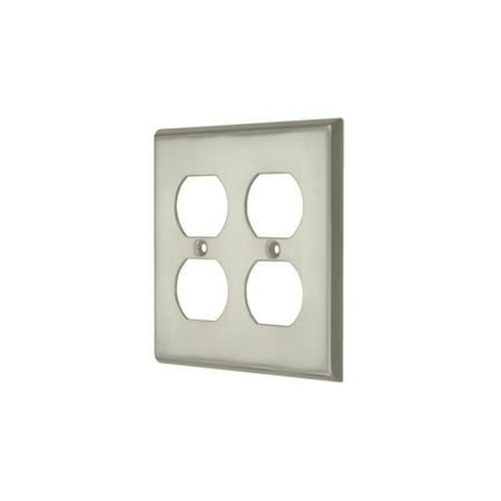 Contemporary Quadruple Outlet Plate Satin Nickel