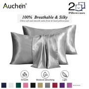 "Silk Pillowcase for Hair and Skin, 2 Pack Ultra Silky Satin Pillowcase, Silk Pillow Covers with Envelope Closure, Both Sides Artificial Silk, Multi Color & Size- Queen Size (20""x30"")- Silver Grey"