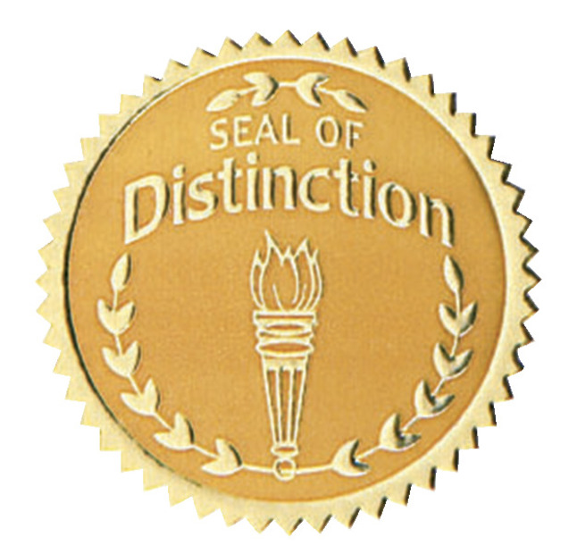 Hammond & Stephens Seal of Distinction Gold Foil Embossed Seal, Pack of 54