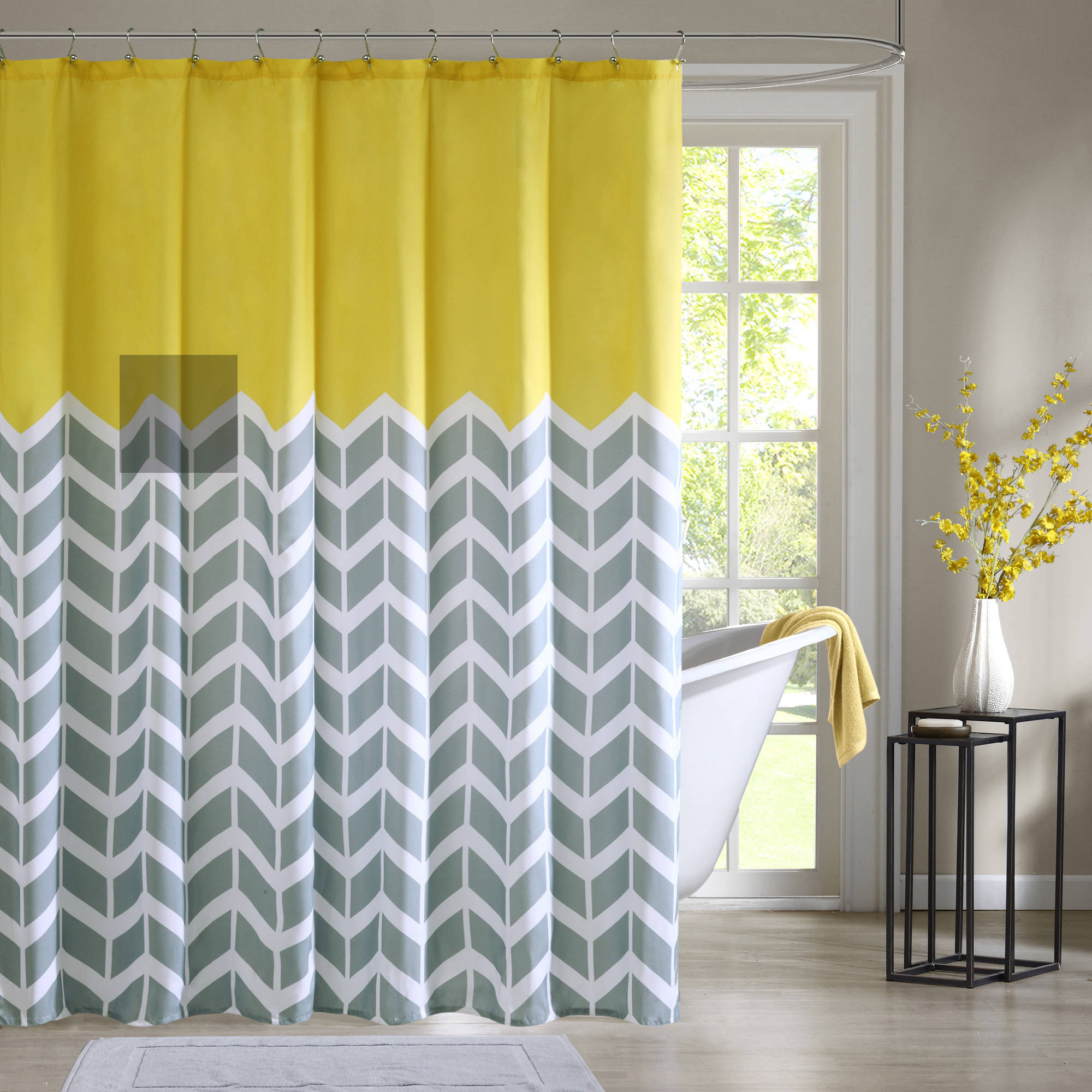 Home Essence Apartment Darcy 100  Microfiber Printed Shower Curtain    Walmart comHome Essence Apartment Darcy 100  Microfiber Printed Shower  . Yellow And Teal Shower Curtain. Home Design Ideas