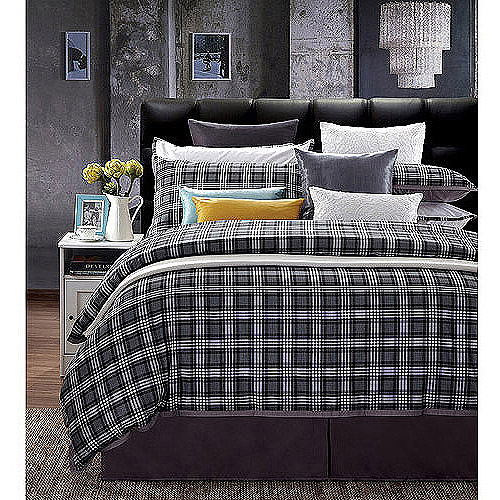 EverRouge Checkers 300-Thread-Count 7-Piece Bedding Duvet Set