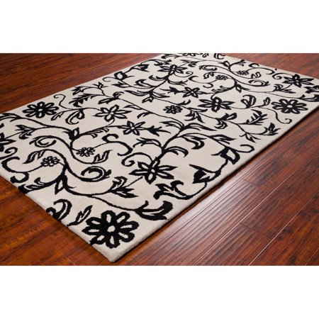 Filament Black And White Allie Handmade Floral Wool Rug 5