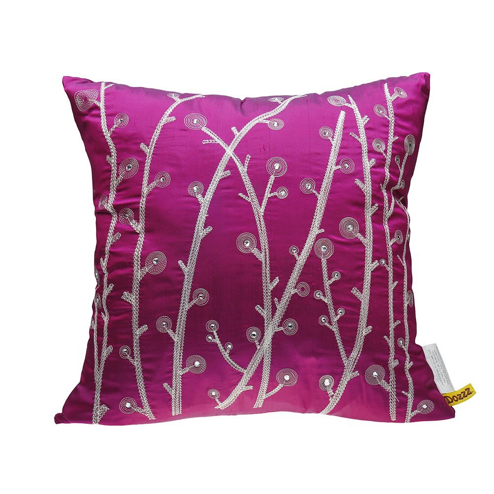 DOZZZ Decorative Pillow Luxury Handmade Dandelions with Crystal Accent Pillow Faux Silk... by