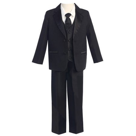 Lito Baby Boys Black Two-Button 5 Pcs Special Occasion Tuxedo 6-12M