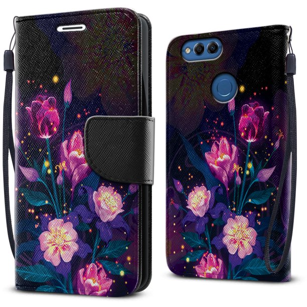 FINCIBO Kickstand Card Holder Magnetic + Flap Wallet Pouch Cover Case for Huawei Honor 7X, Purple Glowing Flower