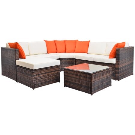 Remarkable Lowestbest Outdoor Furniture Sectional Sofa Set All Weather Pe Rattan Wicker Garden Sofa Sectional Conversation Furniture Sets 5 Piece Cushioned Creativecarmelina Interior Chair Design Creativecarmelinacom